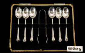 Cased Set Silver Spoons And Sugar Nips.