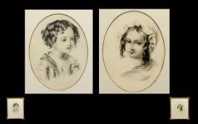 Two Mid 19th Century Portrait Head Studi