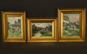A Set of Three Original Oil Paintings. A