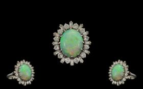 A Stunning Quality 18ct White Gold Opal and Diamond Cluster Ring - Flower Head Design.