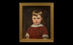 Oil on Canvas Framed Painting of a Young Girl in a Red Dress by W Vizard dated 1884.