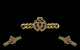 Antique Period - Attractive 15ct Gold Sweetheart Brooch - The Two Hearts Set with Seed Pearls. c.