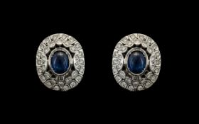 Russian 14ct White Gold Superb Diamond and Sapphire Set Pair of Earrings, In a Cluster Setting.