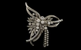 Art Deco Period Stunning 18ct White Gold Diamond Set Brooch, In The Form of a Flower Spray,