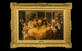 Large Print of Oil Painting by Jules Grun 'The Dinner Party'.