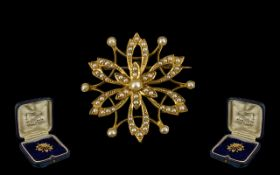 Victorian Period 1837 - 1901 Fine Quality 15ct Gold Fancy Brooch of Attractive Form Set with Seed