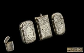 A Small Collection of Antique Period Sterling Silver Hinged Vesta Cases ( 3 ) In Total. Comprises 1/