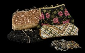 Collection of Beaded Evening Bags to include a black and pink beaded bag with fixed metal handle