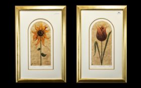 Two Kelly Jane Limited Edition Signed Prints 'Treasured Tulip' 219/750and 'Secret Sunflower'