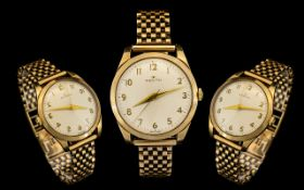 Zenith - Gentleman's Quality 1930's 9ct Gold Mechanical Wrist Watch. Both Case and Strap with Full