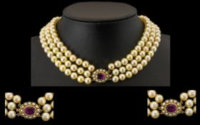 Antique Period Fine Quality and Impressive Three Strand Cultured Pearl Necklace featuring a 9ct gold