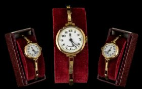 Ladies Swiss Made 1920s Nice Quality Mechanical 9ct Gold Wrist Watch. Both case and expanding