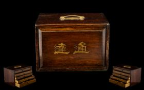 Early 20thC Empty Mahjong Box with a panelled front, the interior with 5 drawers, containing a small