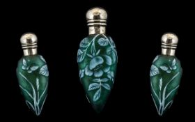 Thomas Webb Nice Quality Stunning Cameo Glass Scent Bottle, with Hinged Silver Cover / Top of