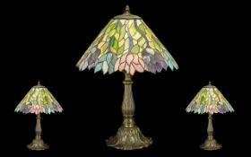 Large Tiffany Style Table Lamp on decorative floriate metal base, with floral relief to shade in