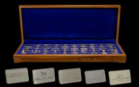 Boxed Set Of The First International Bank Ingot Collection Issued by John Pinches in 1975, set