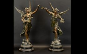 Pair of Victorian French Spelter Figures raised on circular plinths.