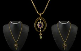 Edwardian Period 9ct Gold Mounted Attractive Amethyst & Pearl Pendant with Peridot drop. Attached