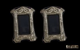 Elizabeth II Nice Quality Pair of Sterling Silver Photo Frames, Decorated with Swags and Garlands to