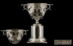 Walter & John Barnard Superb Quality Large & Impressive Twin Handled Silver Kalyx Cup & Stand. The