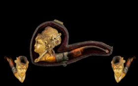 A Meerschaum Pipe/ Cheroot Holder with a figural meerschaum bowl in the form of a glamour girl