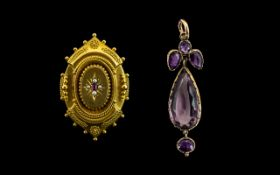 Antique Period 18ct Gold - Fancy Quality Locket Brooch, Set with Ruby and Seed Pearls In a Starburst