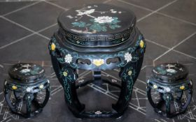 A 20thC Chinese Drum Stool black lacquered finish with painted floral decoration.