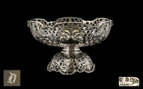 Edwardian Period 1902 - 1910 Superb Quality Sterling Silver Open Worked Pedestal Bowl of Excellent