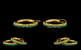A Fine Pair of Stylish 18ct Gold Turquoise Set Hoop Earrings, of Good Size Proportions. Each
