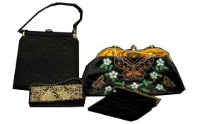 Collection of Vintage Bags including a black velvet bag with a chain handle;