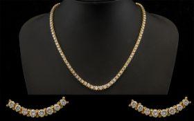 14ct Gold Superb Quality Stunning Graduated Diamond Set Necklace of Good Sparkle. The Diamonds of