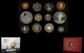 Royal Mint United Kingdom 2005 Delux Proof Set ( 13 ) Coins In Total. All Proof Struck Quality