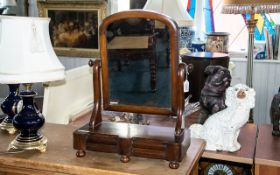 A Victorian Period Toilet/Dressing Table Mirror in mahogany with two small drawers to front,