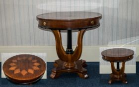 20th Century Mahogany Round Occasional Table, high gloss finish with diamond inlaid star-burst