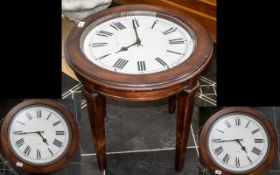 Circular Mahogany Coffee Table with Clock Face Top.