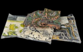 Collection of Vintage Silk Scarves, four in total to include Italian small silk scarf in blue,