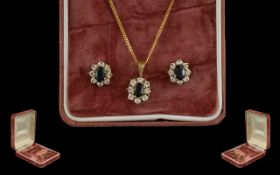 Ladies 9ct Yellow Gold Attractive Diamond and Sapphire Set Pendant Drop on an Attached 9ct Gold