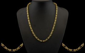 Byzantine Design 9ct Gold Necklace of Superb Quality - circa 1960's. Full hallmark for 9.375 gold.