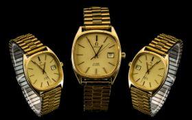Omega De-Ville Classic Design Gents Quartz Date-Just Gold Plated Wrist Watch with Expanding Gold