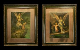 Pair of 19thC 'Guardian Angel' Framed Prints, one showing the typical high Victorian sentimental
