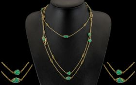 Antique Period - Stunning 15ct Gold Muff Chain Set with Turquoise Spacers. Marked 625 - 15ct.