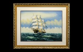 Modern Seascape Watercolour ' Large Ship on Stormy Waters ' Signed Indistinctly Lower Right, Mounted