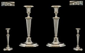 Queen Elizabeth - Pair of Solid Silver Regency Style Candlesticks of Wonderful Form / Shape. Tapered