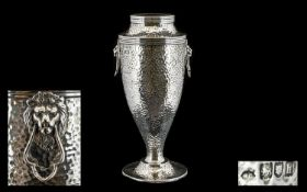 Arts and Crafts Superb Quality Planished Sterling Silver Twin Lion Mask Handle Vase of Tapered Form.