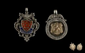 A Collection of Two Silver Fobs / Medals One is enamelled and marked Stockport F.A. and is