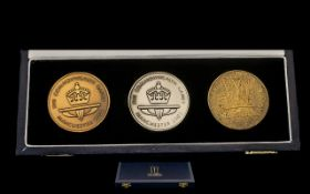 Royal Mint Manchester 2002 Commonwealth Games Medal Set, Boxed. Comprises The Gold Silver and Bronze