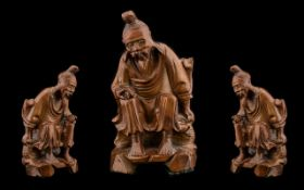 Chinese 20th Century Carved Boxwood Figure of a Wise Man Seated. 6.25 Inches - 15.70 cm High. Please