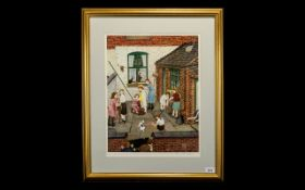 Tom Dodson 1910 - 1991 Artist Signed Ltd and Numbered Edition Colour Print. Titled ' Backyard