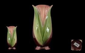 "Vintage Blakeney Pottery Vase. Attractive vase in shades of plum and green, 10"" tall."