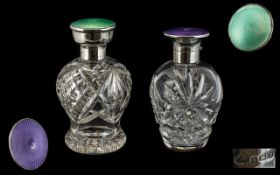 Art Deco Period - 1920's Pair of Silver and Enamel - Hinged Topped Cut Glass Perfume Bottles of Good